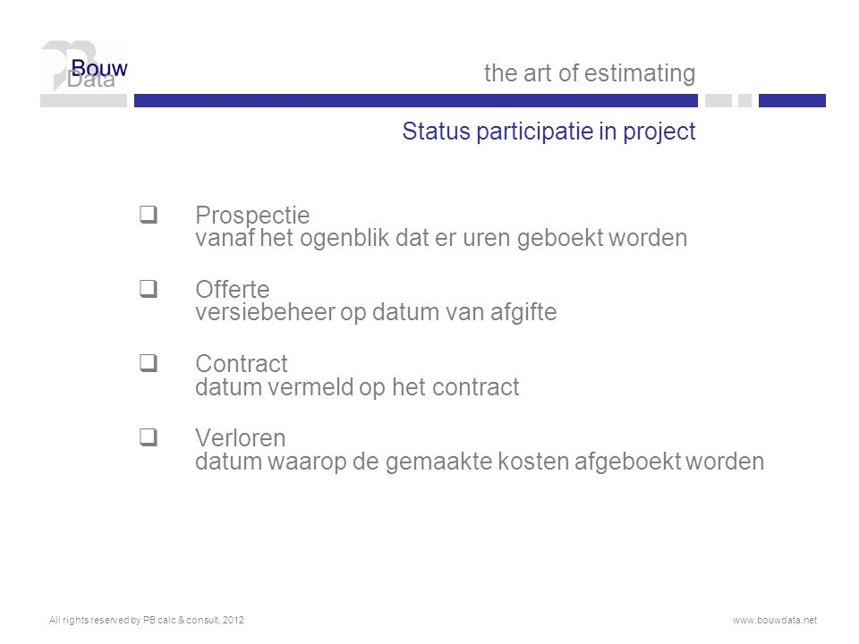 Status participatie in project