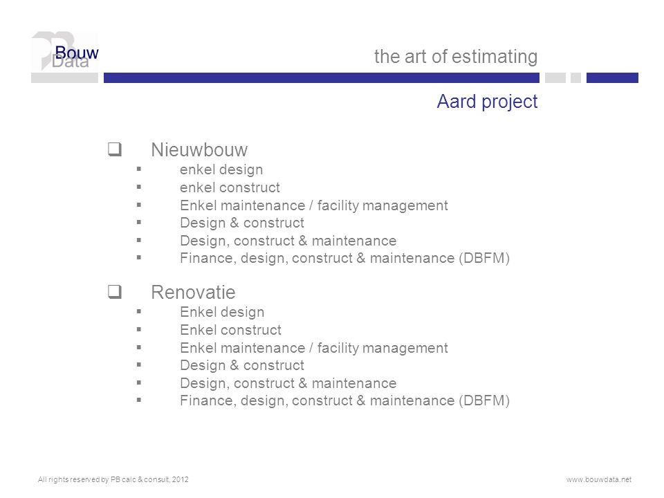 the art of estimating Aard project Nieuwbouw Renovatie enkel design