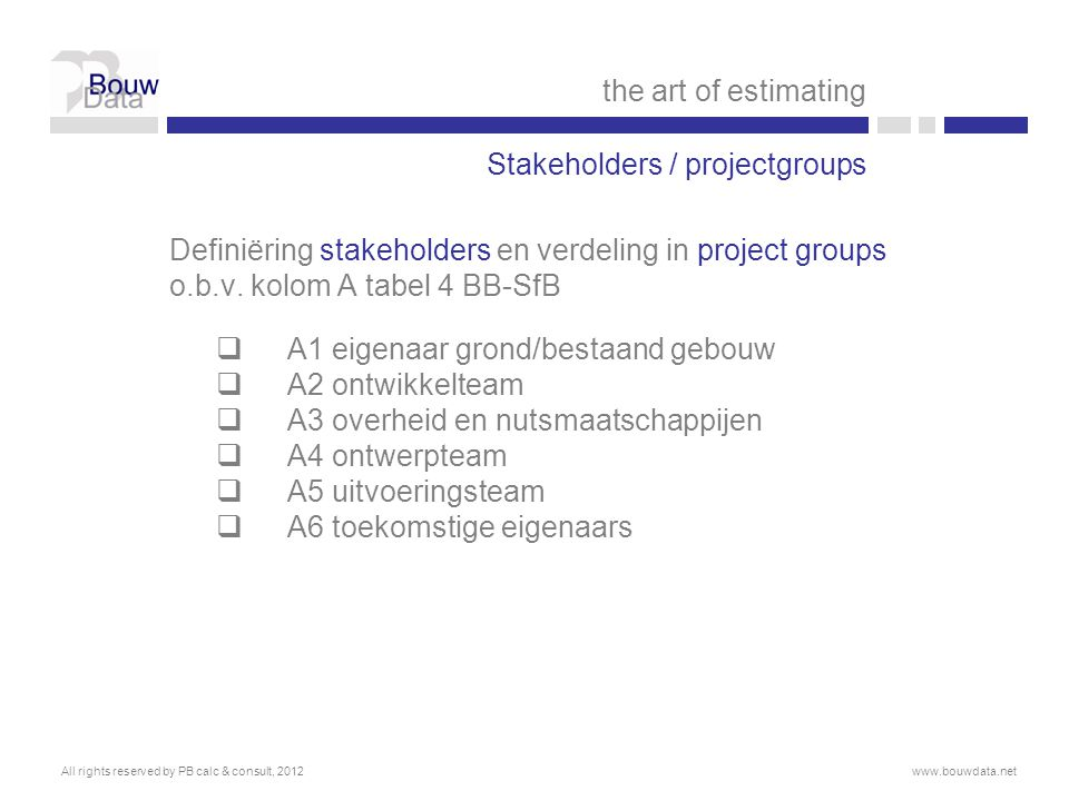 Stakeholders / projectgroups