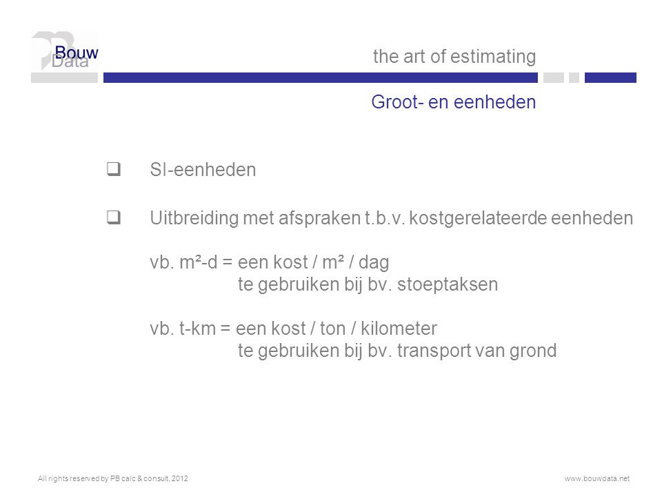 the art of estimating Groot- en eenheden SI-eenheden