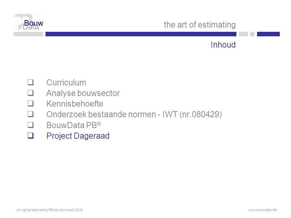 Onderzoek bestaande normen - IWT (nr.080429) BouwData PB®