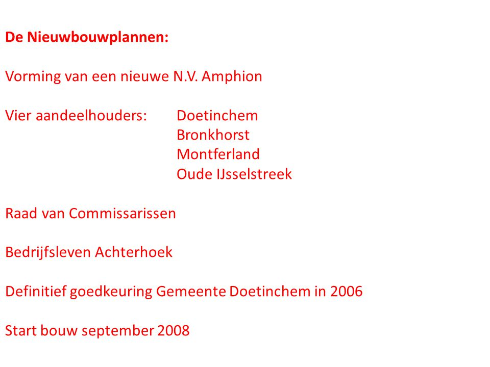 De Nieuwbouwplannen: Vorming van een nieuwe N.V. Amphion. Vier aandeelhouders: Doetinchem. Bronkhorst.