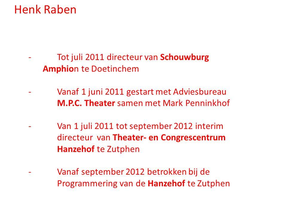 Henk Raben - Tot juli 2011 directeur van Schouwburg Amphion te Doetinchem. - Vanaf 1 juni 2011 gestart met Adviesbureau.