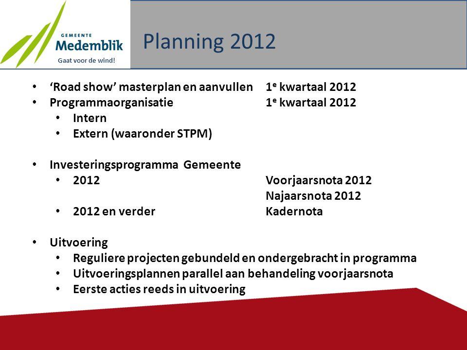 Planning 2012 'Road show' masterplan en aanvullen 1e kwartaal 2012