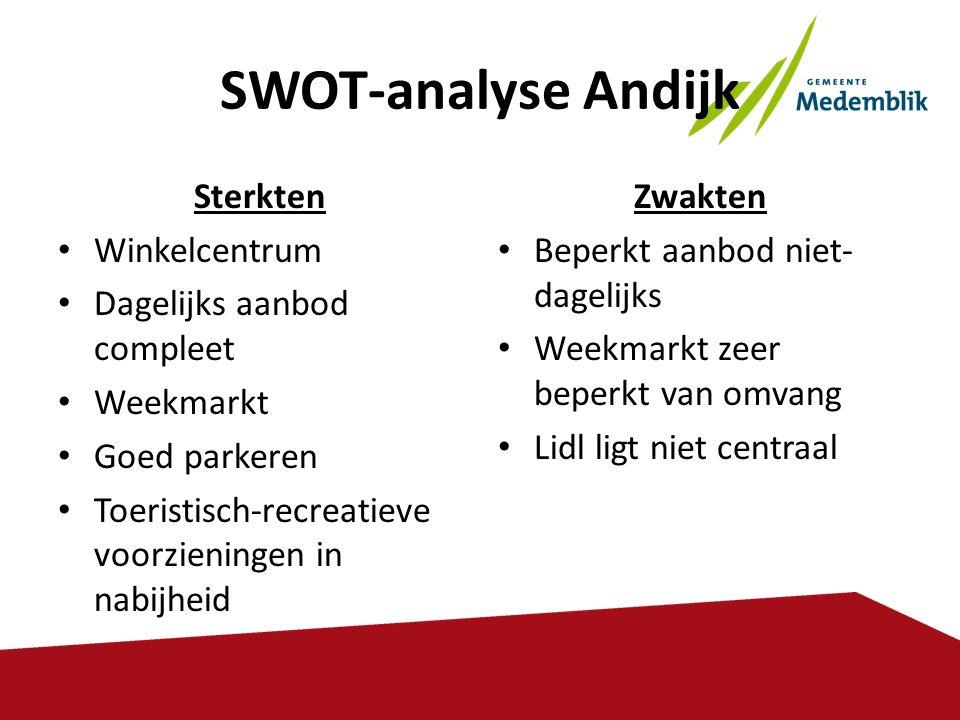 SWOT-analyse Andijk Sterkten Winkelcentrum Dagelijks aanbod compleet