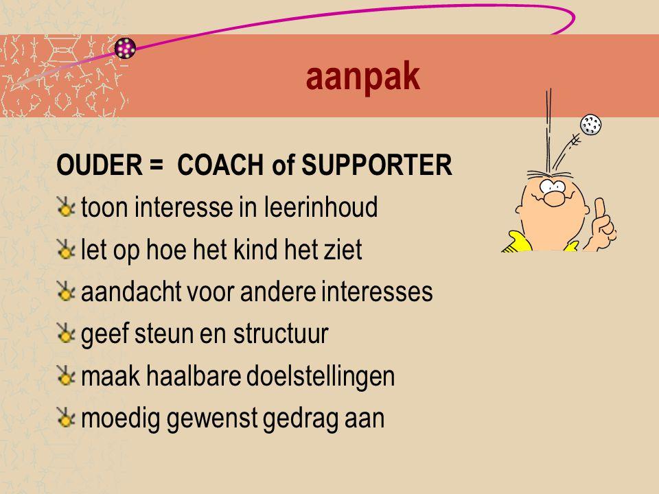 aanpak OUDER = COACH of SUPPORTER toon interesse in leerinhoud
