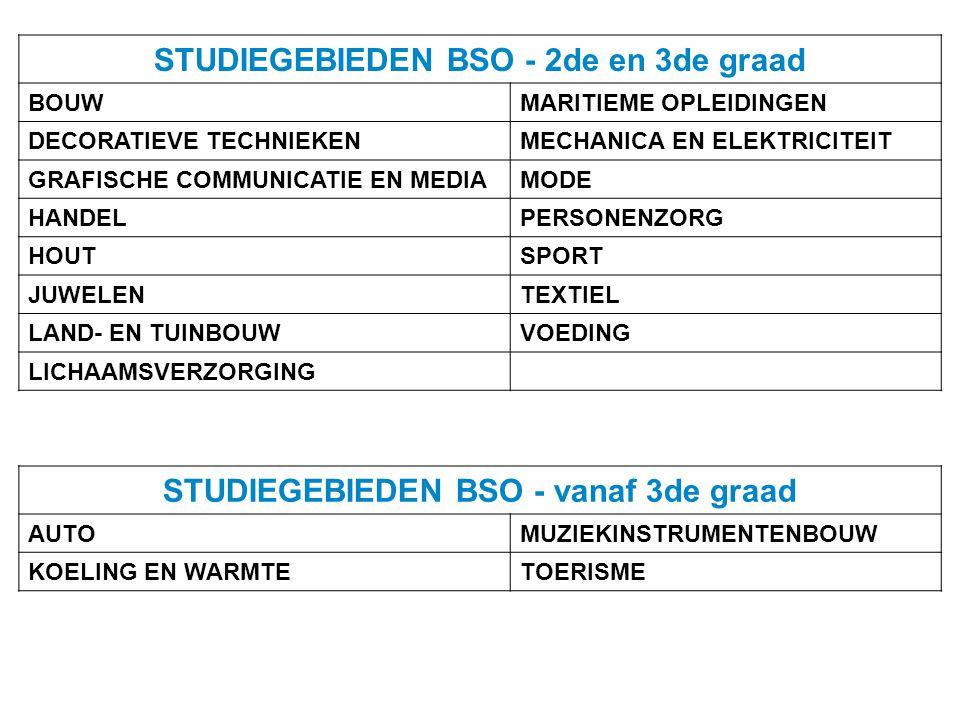 STUDIEGEBIEDEN BSO - 2de en 3de graad