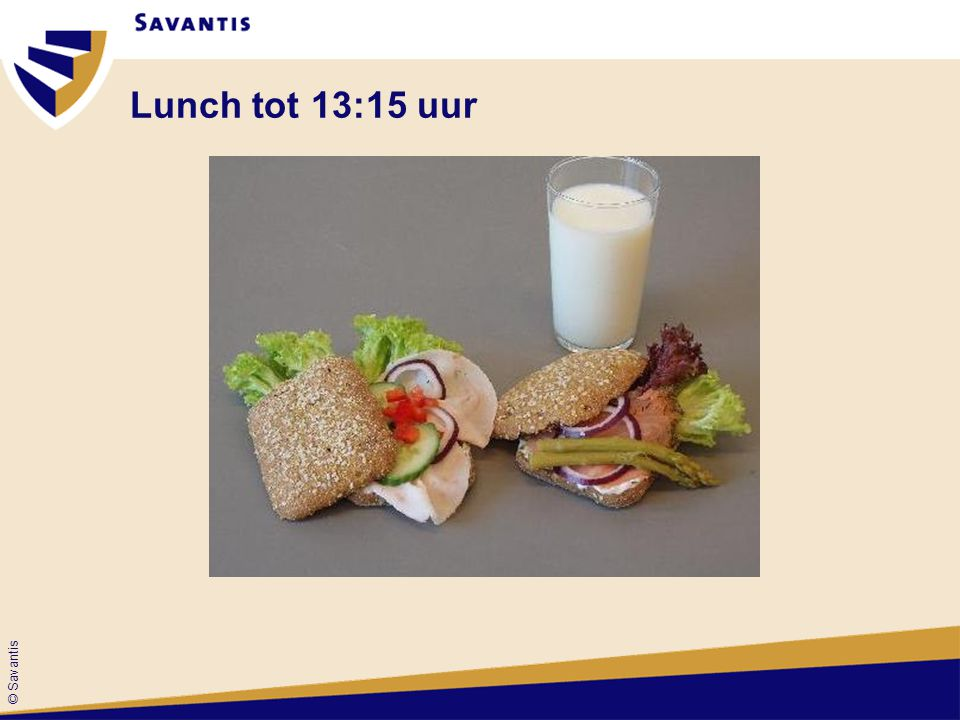Lunch tot 13:15 uur