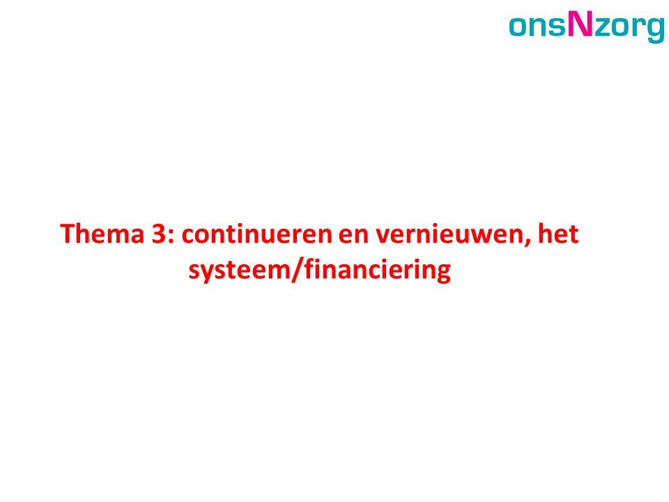 Thema 3: continueren en vernieuwen, het systeem/financiering