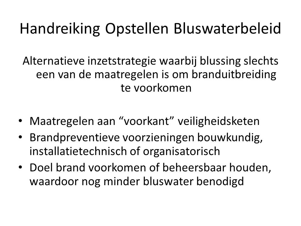 Handreiking Opstellen Bluswaterbeleid