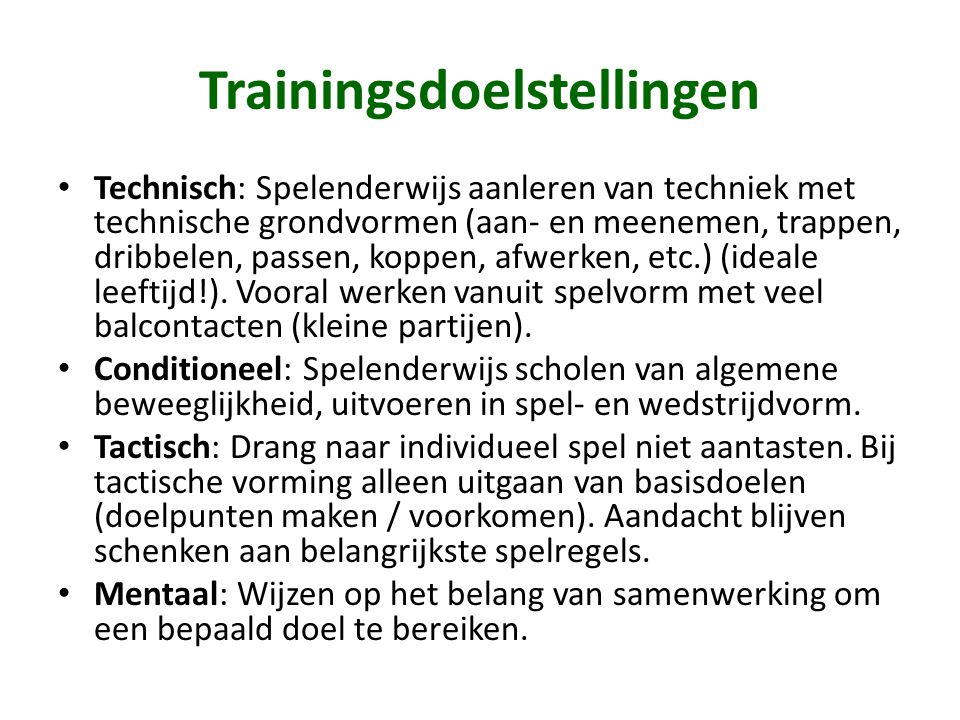 Trainingsdoelstellingen