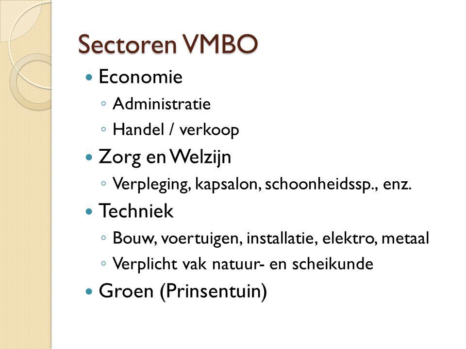 Sectoren VMBO Economie Zorg en Welzijn Techniek Groen (Prinsentuin)