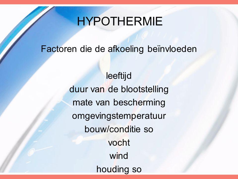 HYPOTHERMIE Factoren die de afkoeling beïnvloeden leeftijd