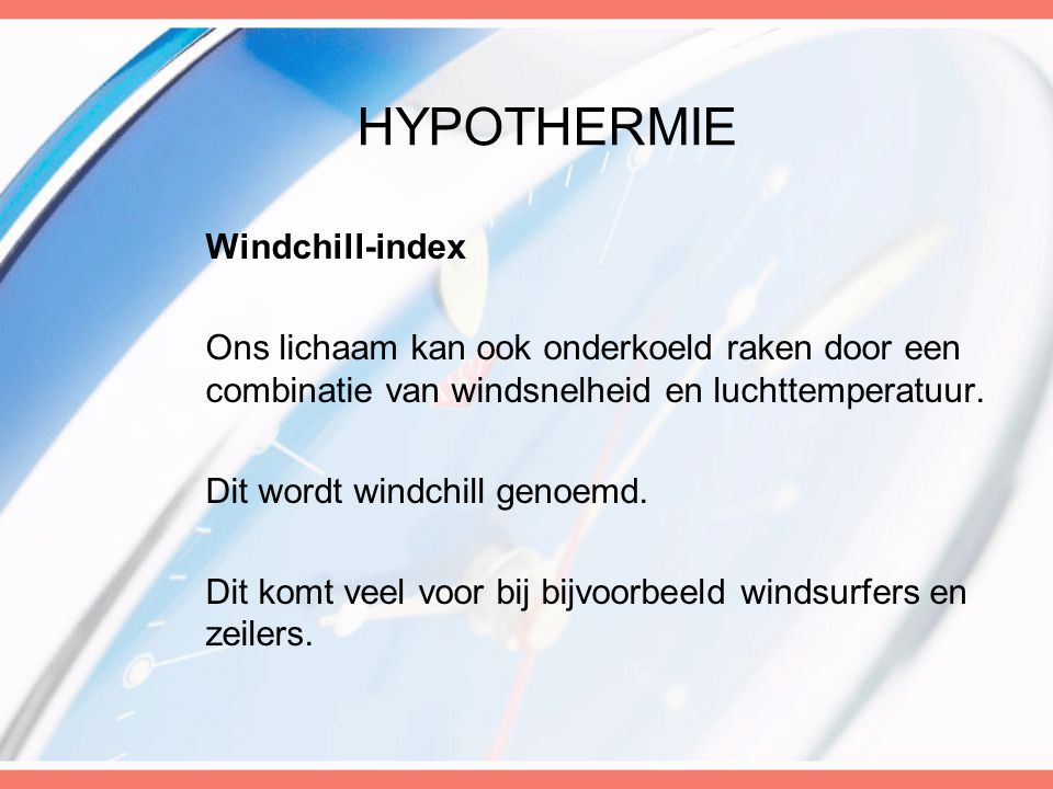 Hypothermie Windchill-index