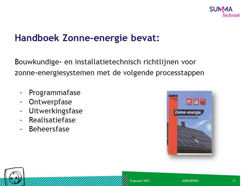 Handboek Zonne-energie bevat: