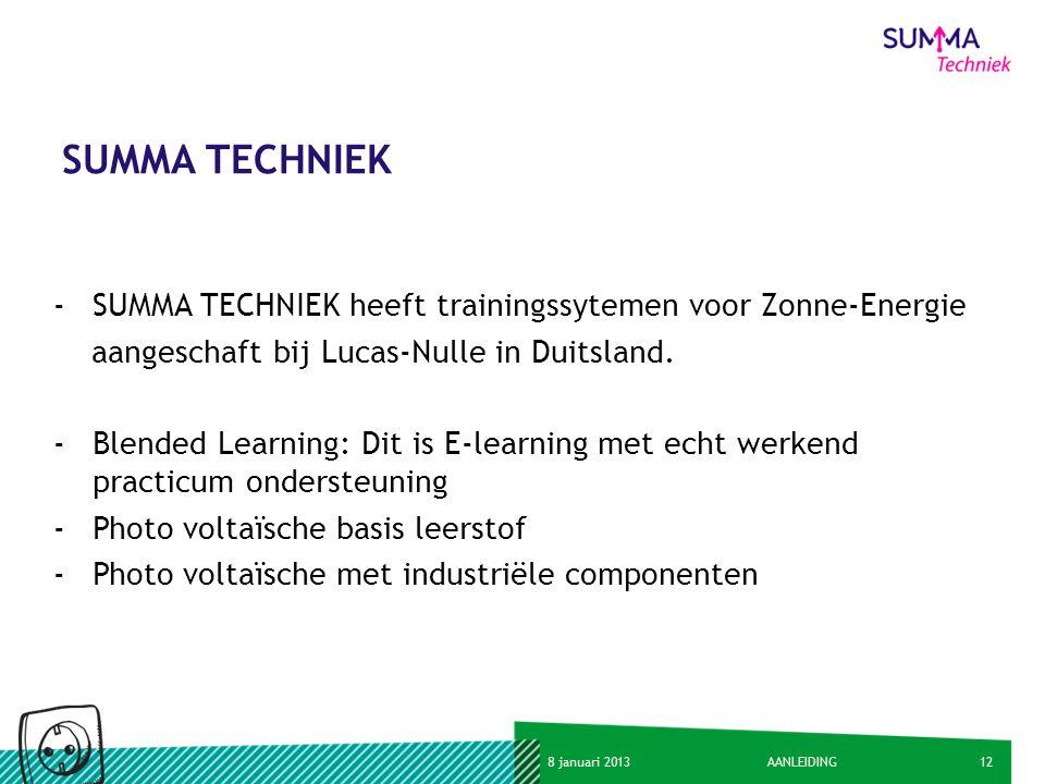 SUMMA TECHNIEK SUMMA TECHNIEK heeft trainingssytemen voor Zonne-Energie. aangeschaft bij Lucas-Nulle in Duitsland.