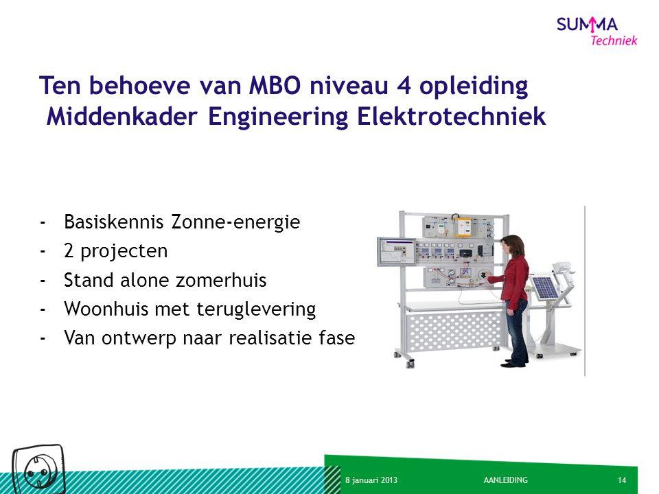 Ten behoeve van MBO niveau 4 opleiding Middenkader Engineering Elektrotechniek