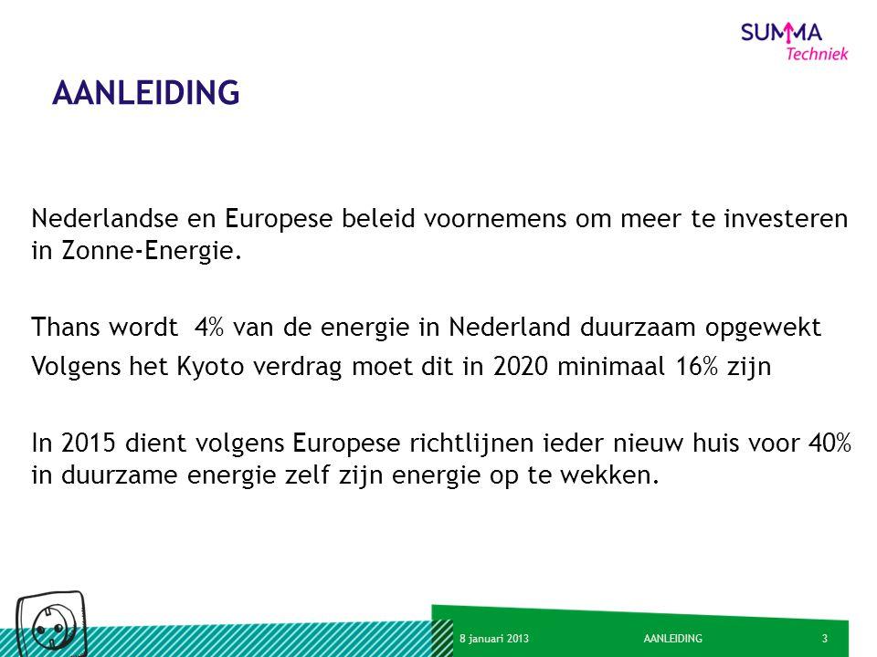 AANLEIDING Nederlandse en Europese beleid voornemens om meer te investeren in Zonne-Energie.