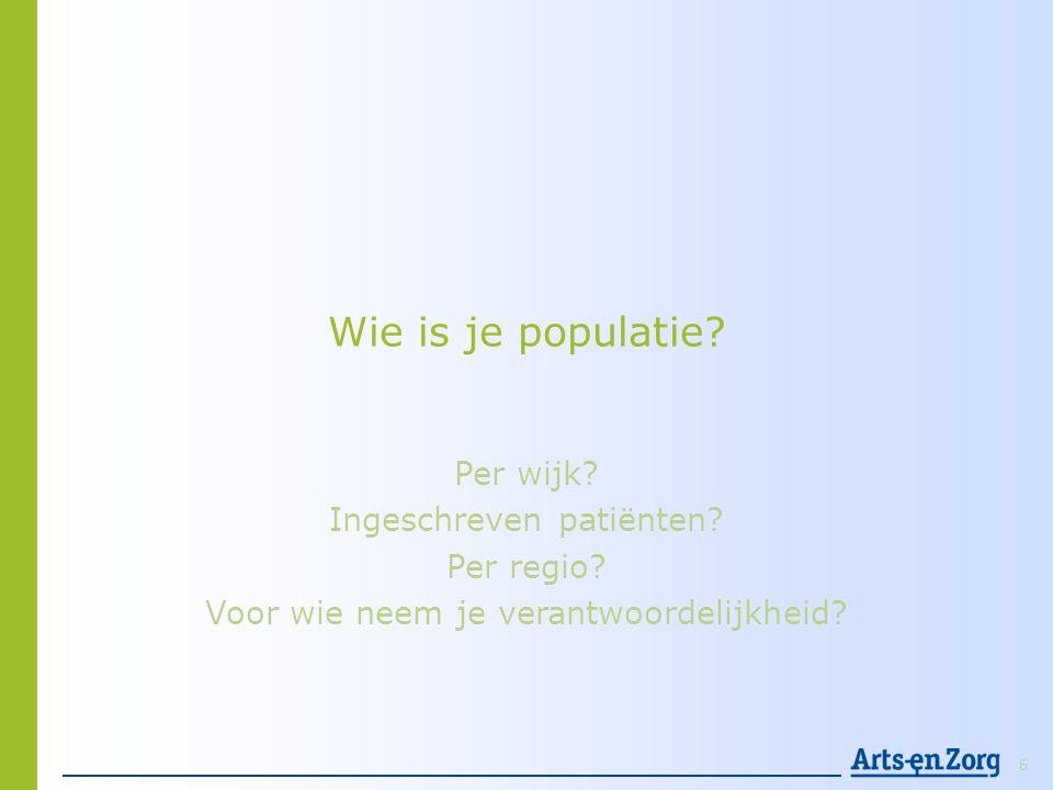 Wie is je populatie Per wijk Ingeschreven patiënten Per regio
