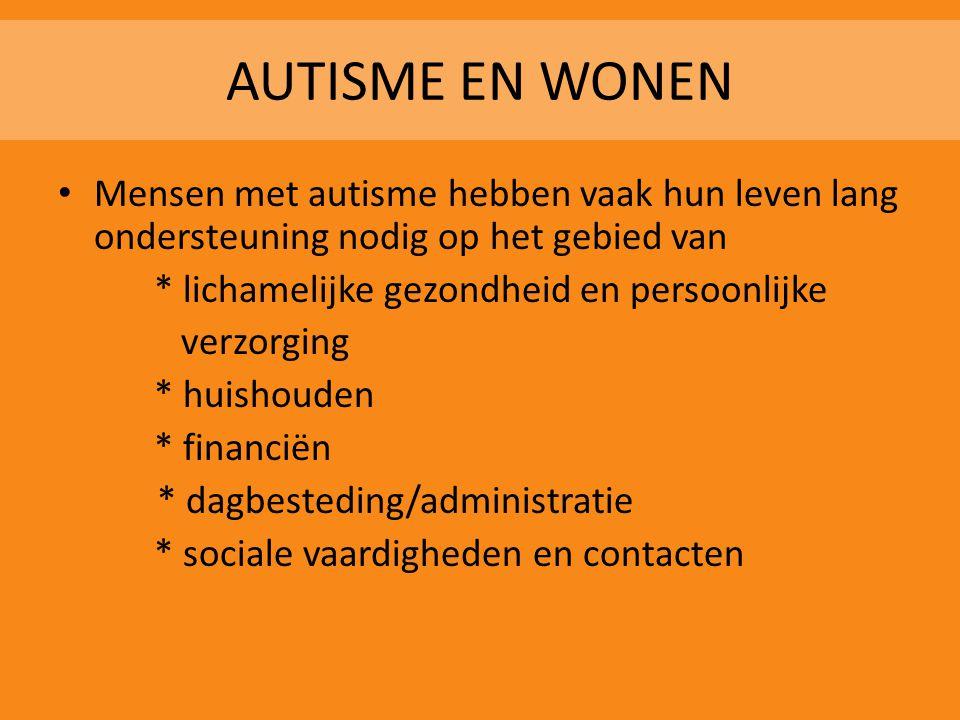 AUTISME EN WONEN Mensen met autisme hebben vaak hun leven lang ondersteuning nodig op het gebied van.