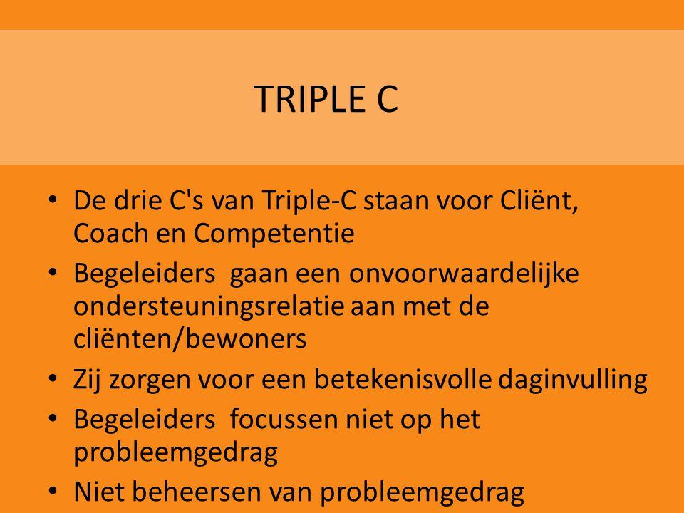 TRIPLE C De drie C s van Triple-C staan voor Cliënt, Coach en Competentie.