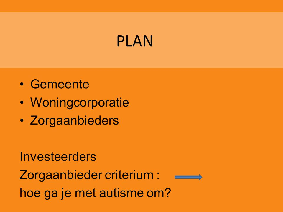 PLAN Gemeente Woningcorporatie Zorgaanbieders Investeerders