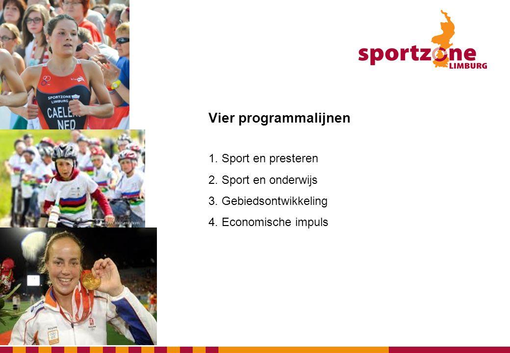 Vier programmalijnen 1. Sport en presteren 2. Sport en onderwijs