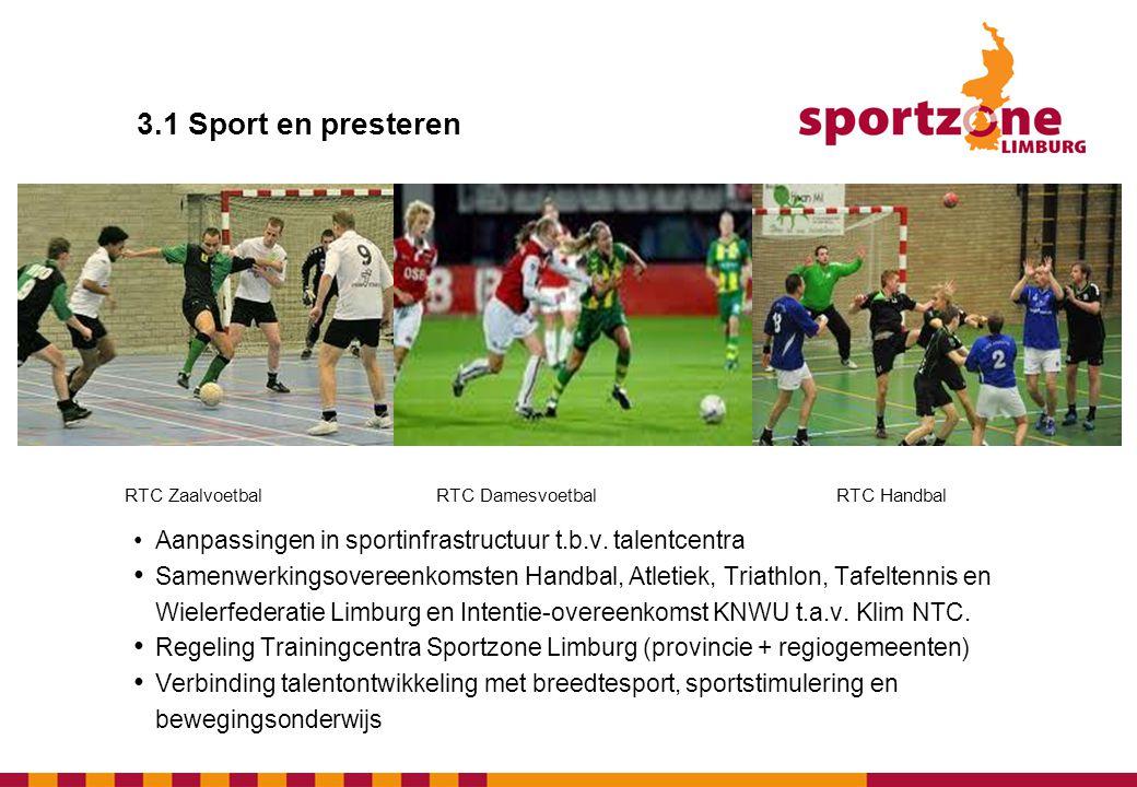 3.1 Sport en presteren RTC Zaalvoetbal. RTC Damesvoetbal. RTC Handbal. • Aanpassingen in sportinfrastructuur t.b.v. talentcentra.