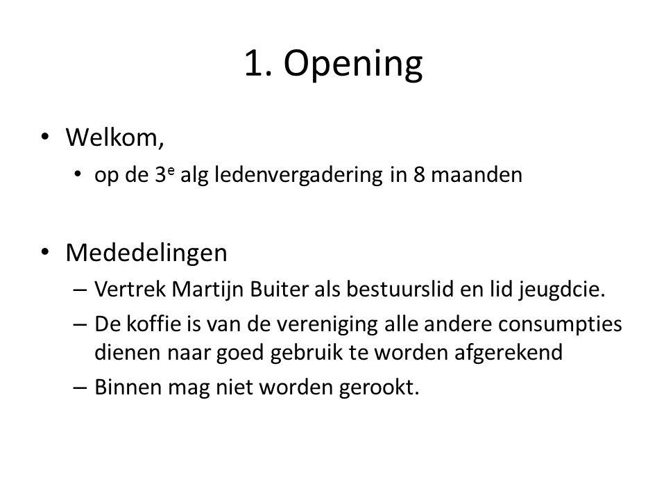 1. Opening Welkom, Mededelingen