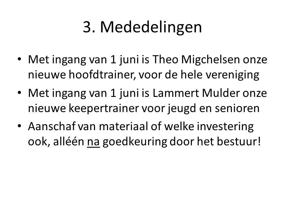 3. Mededelingen Met ingang van 1 juni is Theo Migchelsen onze nieuwe hoofdtrainer, voor de hele vereniging.