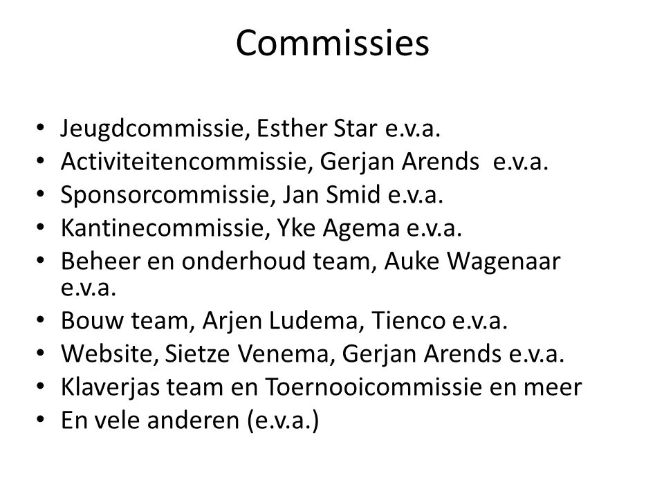 Commissies Jeugdcommissie, Esther Star e.v.a.