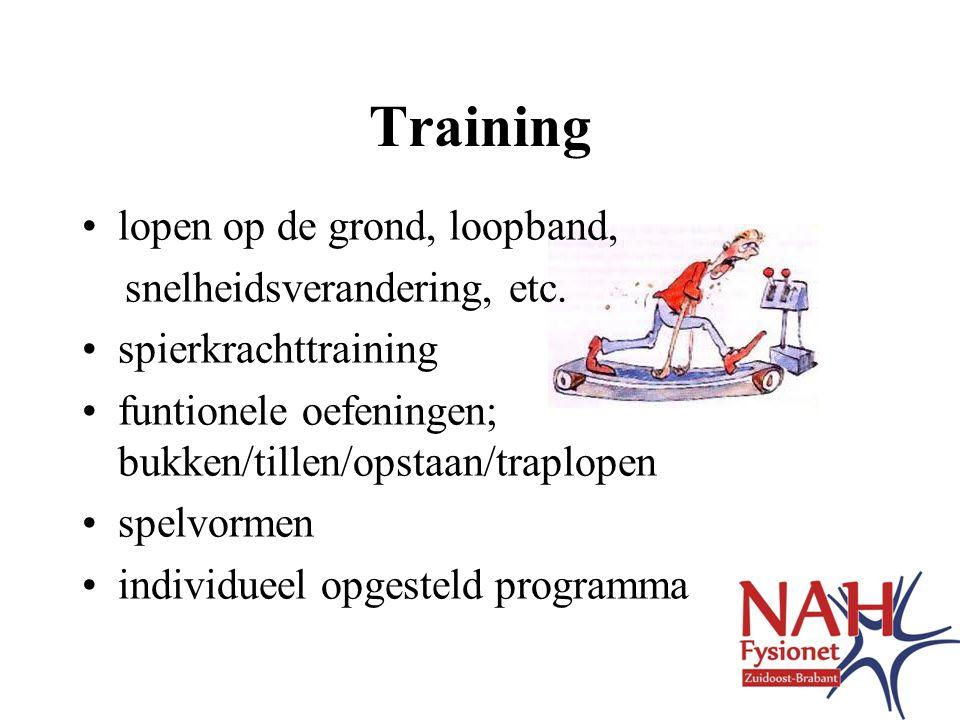 Training lopen op de grond, loopband, snelheidsverandering, etc.