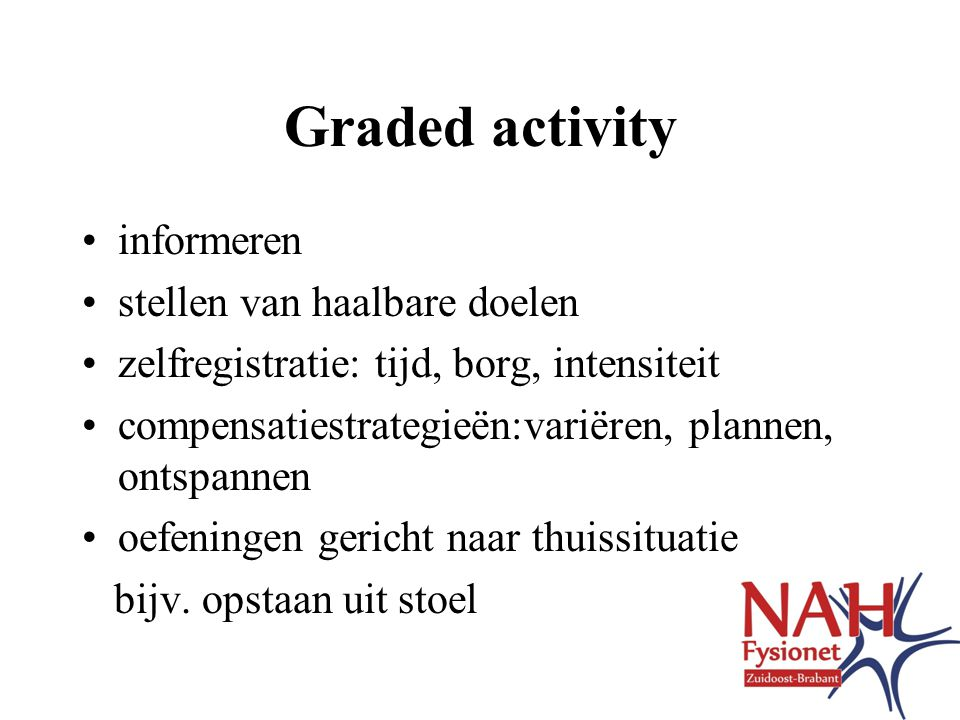 Graded activity informeren stellen van haalbare doelen