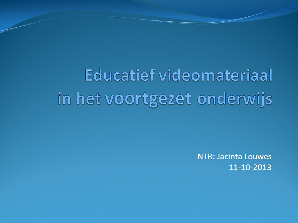 Educatief videomateriaal in het voortgezet onderwijs