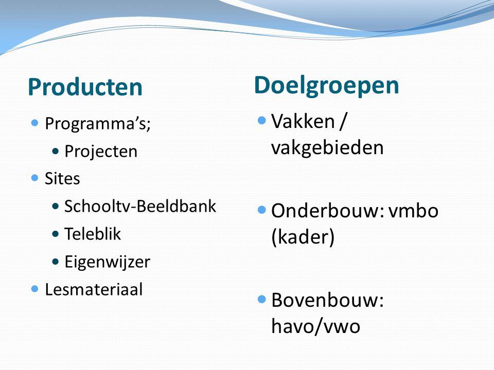 Doelgroepen Producten Vakken / vakgebieden Onderbouw: vmbo (kader)
