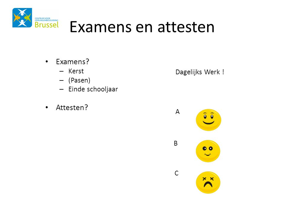 Examens en attesten Examens Attesten B Kerst (Pasen)