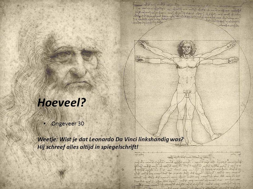 Hoeveel. Ongeveer 30. Weetje: Wist je dat Leonardo Da Vinci linkshandig was.