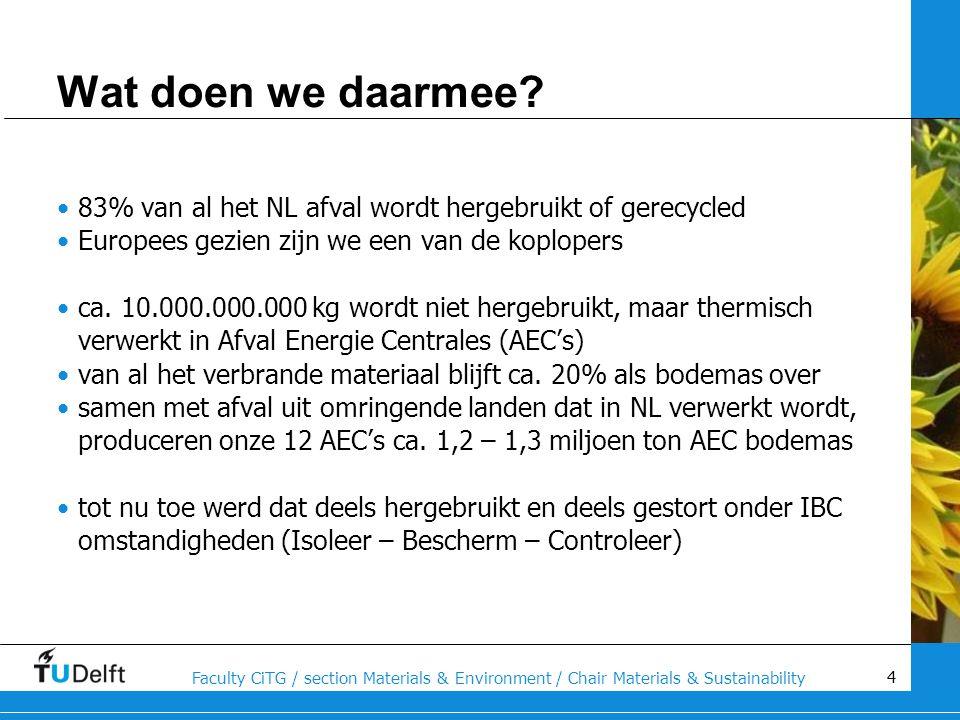 Wat doen we daarmee 83% van al het NL afval wordt hergebruikt of gerecycled. Europees gezien zijn we een van de koplopers.