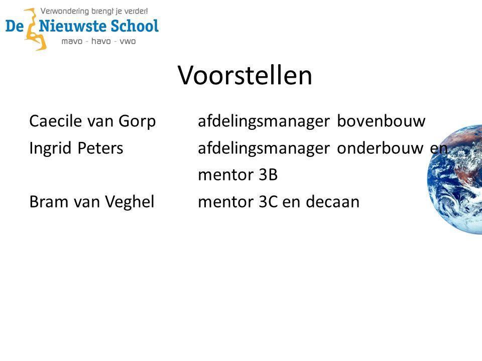 Voorstellen Caecile van Gorp afdelingsmanager bovenbouw Ingrid Peters afdelingsmanager onderbouw en mentor 3B Bram van Veghel mentor 3C en decaan