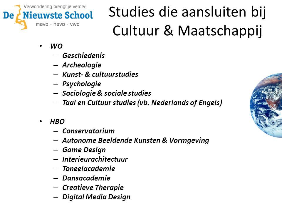 Studies die aansluiten bij Cultuur & Maatschappij