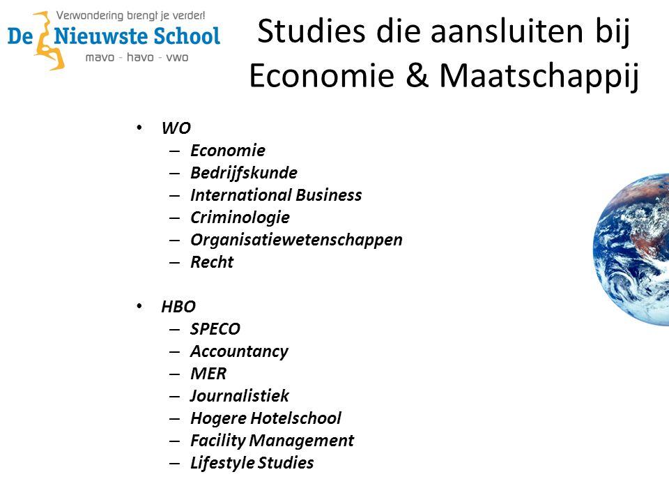 Studies die aansluiten bij Economie & Maatschappij