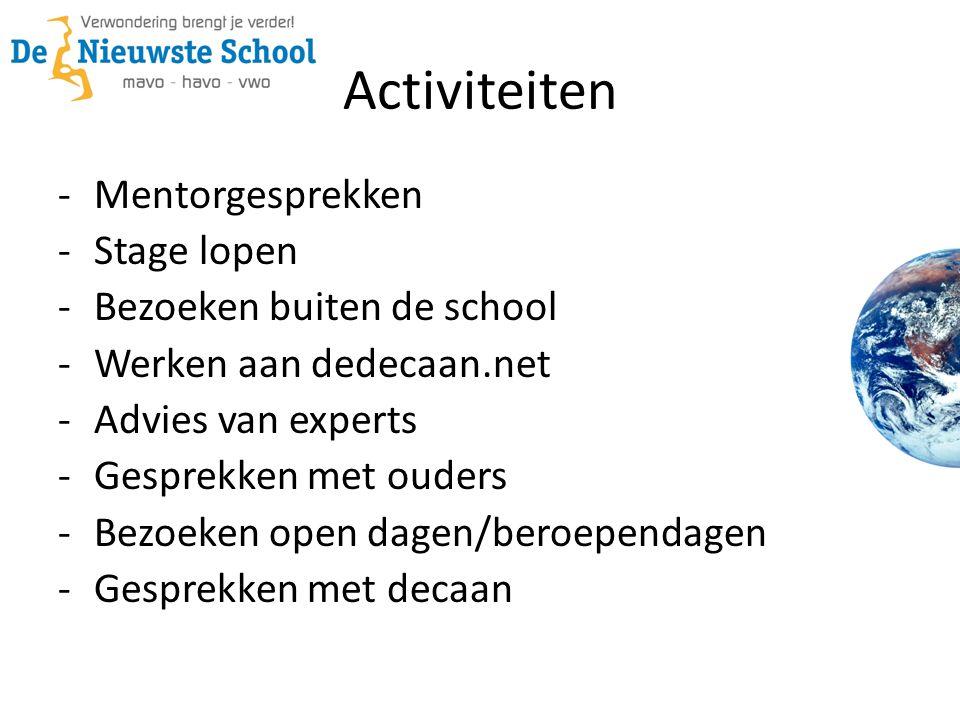 Activiteiten Mentorgesprekken Stage lopen Bezoeken buiten de school