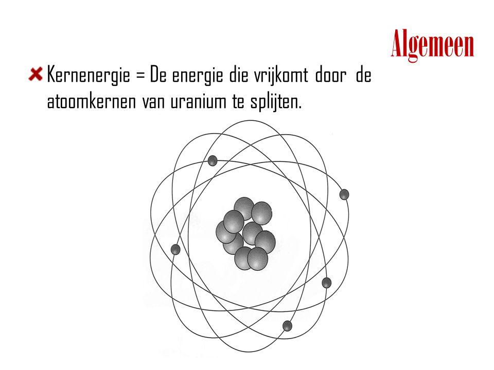 Algemeen Kernenergie = De energie die vrijkomt door de atoomkernen van uranium te splijten.