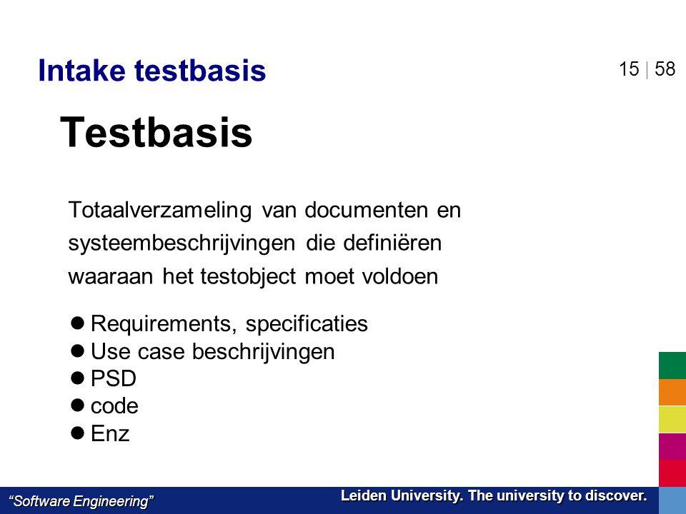Testbasis Intake testbasis Totaalverzameling van documenten en