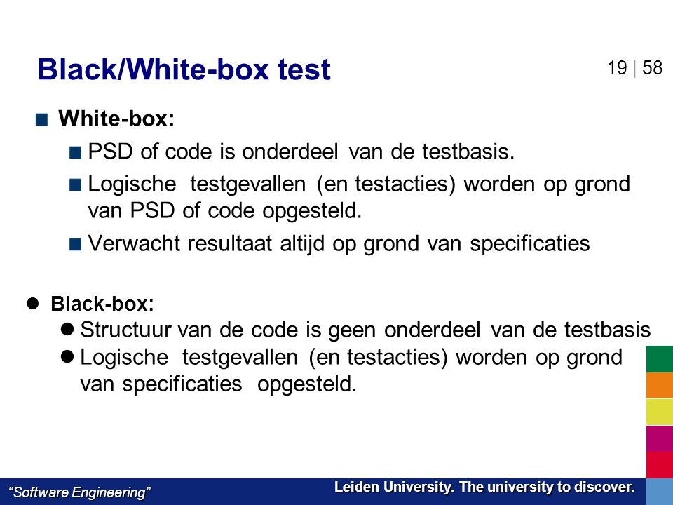 Black/White-box test White-box: