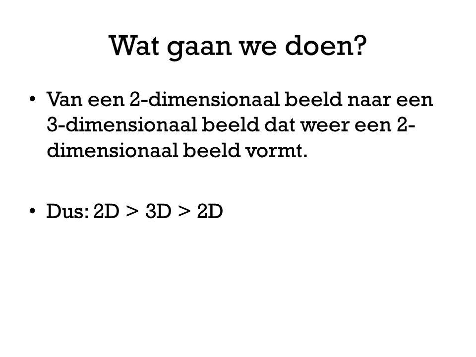Wat gaan we doen Van een 2-dimensionaal beeld naar een 3-dimensionaal beeld dat weer een 2-dimensionaal beeld vormt.