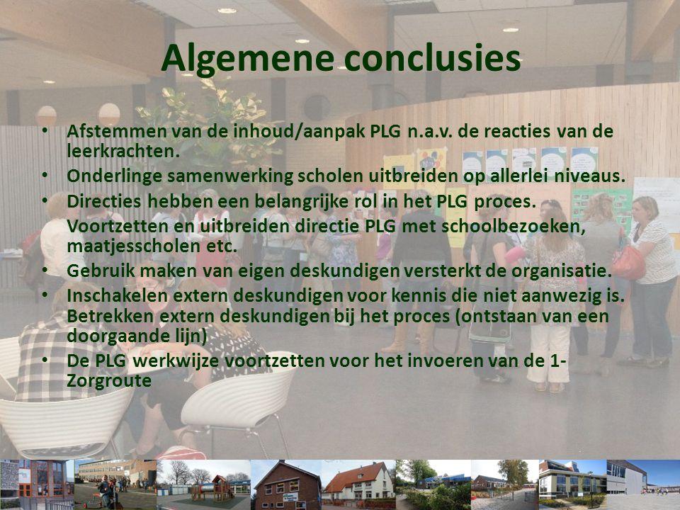 Algemene conclusies Afstemmen van de inhoud/aanpak PLG n.a.v. de reacties van de leerkrachten.