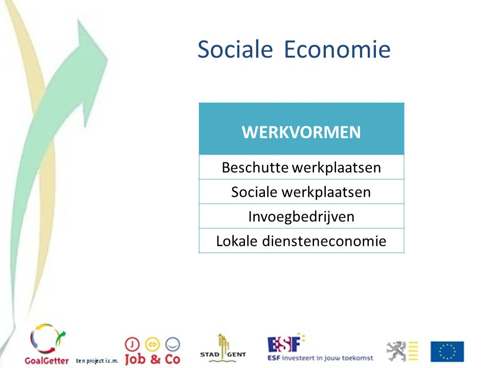 Sociale Economie WERKVORMEN Beschutte werkplaatsen