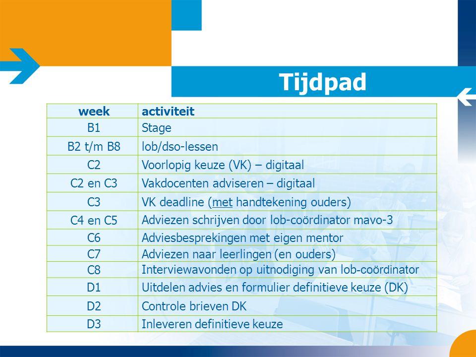 Tijdpad week activiteit B1 Stage B2 t/m B8 lob/dso-lessen C2