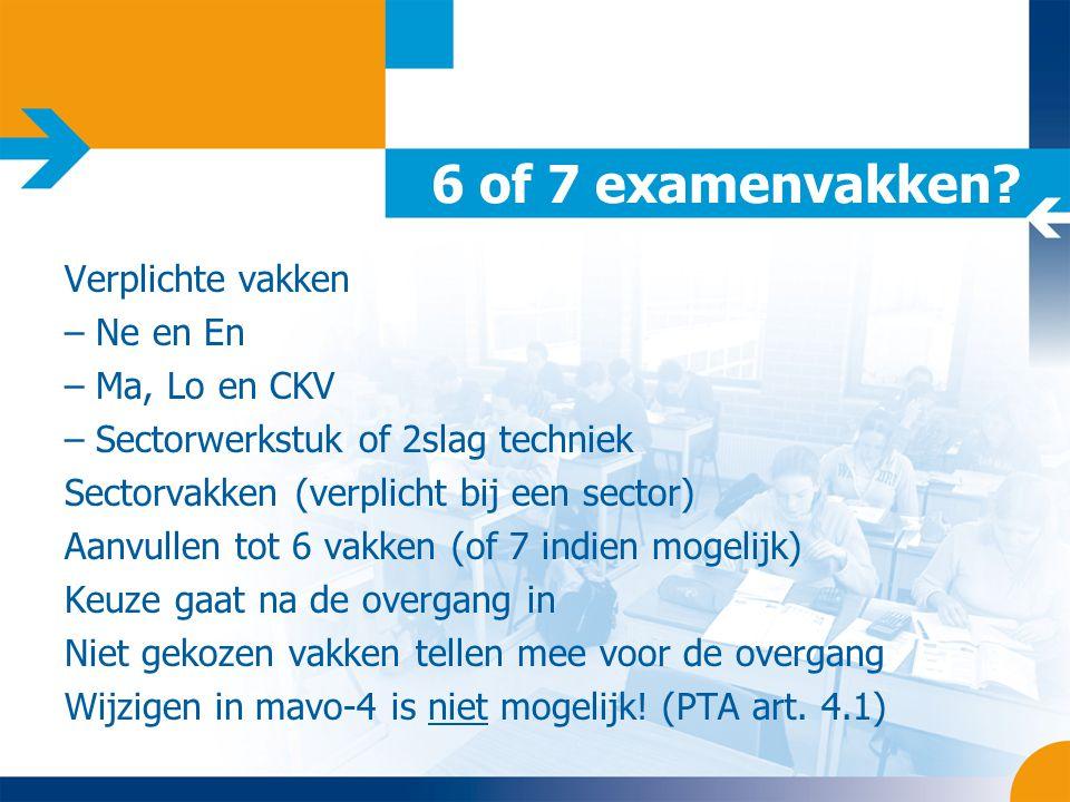 6 of 7 examenvakken Verplichte vakken Ne en En Ma, Lo en CKV